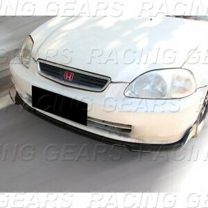 For 1996 1998 Honda 2 3 4 Dr Civic Painted Black Cs Style Front Bumper Lip 3pc
