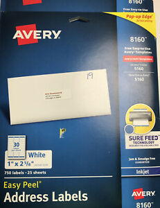 Avery 8160 White Easy Peel Address Labels Inkjet 750 Labels 1 x2 5 8 Lot Of 3