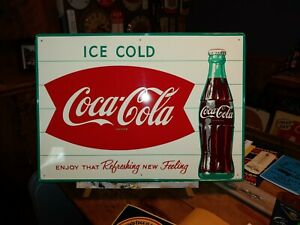 Original Coca Cola Fishtail Ice Cold Self Framed Tin Sign