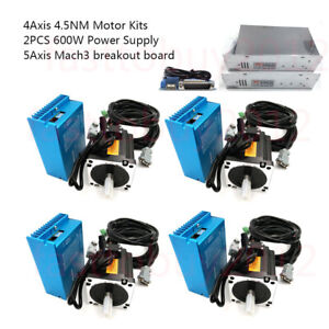 4 5nm 4axis Dsp Closed Loop Stepper Motor Drive 2pc Power Supply Mach3 Board