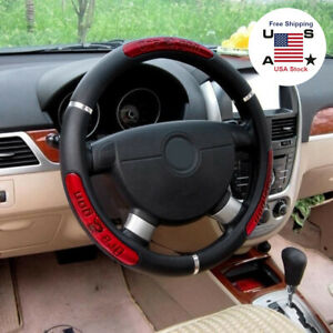 Car Steering Wheel Cover Black Red Stitching Pu Leather Universal 38cm 15inch