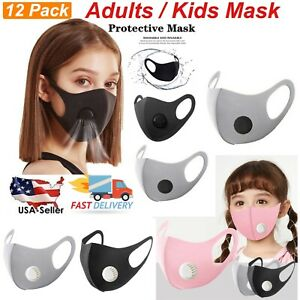 6 12pcs Reusable Washable Kids Adults Pm2 5 Face Mask With Breathing Valve