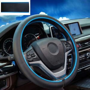 Car Steering Wheel Cover Leather Pu Breathable Anti slip Cover Black With Blue