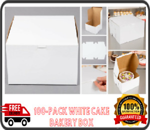 10 x10 X 5 White Cake Bakery Box 100 bundle Easy Assembly Durable Paperboard