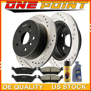 Front Drill Slot Brake Rotors Carbon Ceramic Pads For Ford Explorer Flex Taurus