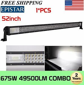 Tri row 52 inch 675w 7d Led Light Bar Combo Driving Offroad Bumper Roof 300w