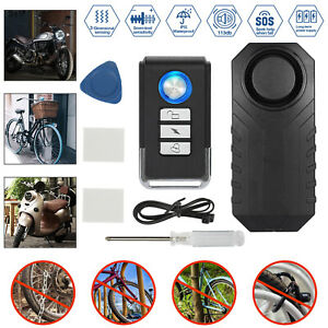 Wireless Motorcycle Bicycle Anti theft Alarm Vibration Remote Control Waterproof