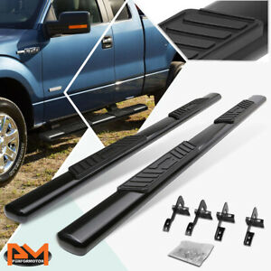 For 09 14 Ford F150 Extended Cab Oval 5 Side Step Nerf Bar Running Board Black