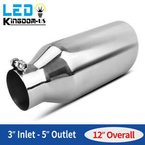 3 Inlet 5 Outlet Exhaust Tip Angle Cut Tail Pipe Stainless Steel Bolt On