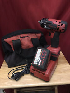 Snap On 3 8 Impact Wrench With Two Batteries Charger And Carry Bag