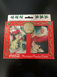 Limited Edition Coca-Cola Playing Cards 2 Decks in a Collectible Tin 1996 New