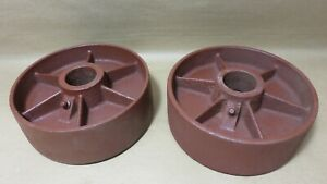 Industrial Vintage Cast Iron Cart Wheels 5 13 16 X 2 5 16 By 1 5 16 Bore