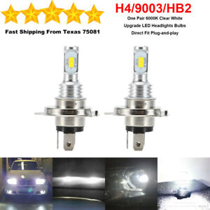 2x Super Bright H4 9003 Hb2 Led Headlight Bulbs High Low Beam 35w 6000k White