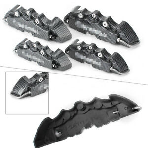 4x Carbon Fiber Style Front Rear Disc Brake Caliper Cover Parts For 16 17 Wheel