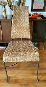 Vintage Mid Century Modern Wrought Iron Wicker Rattan Wood Chair