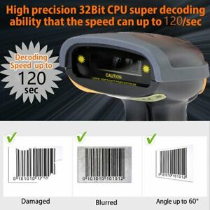 Portable Usb Laser Barcode Scanner Bar Code Reader Long Scan Handheld Pos Pc Us