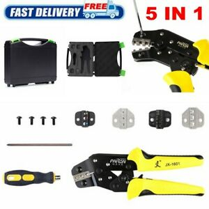 5 In 1 Wire Crimper Pliers Ratcheting Cable Connectors Terminal Crimping Tool Us