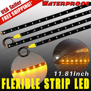4x Amber Yellow 30cm 15 Led Strip Led Lights Car Motor Flexible Waterproof 12v