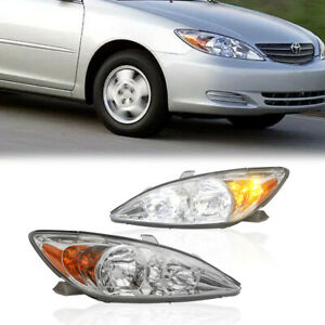 Pair Driver Passenger Front Headlights Assembly For Toyota Camry 2002 2004
