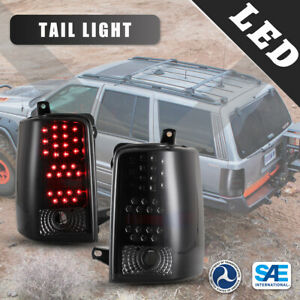 Led Tail Lights For 93 98 Jeep Grand Cherokee Pair Black Smoke Lens Rear Lamps