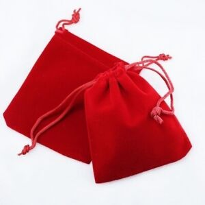 25 Small Red Gift Jewelry Drawstring Bags 2 1 2 X 3 Flocked Velveteen Pouch