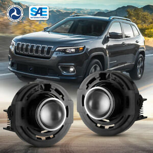 For 11 Chrysler Dodge Jeep Cherokee Clear Lens Fog Light Pair Bulbs Replacement