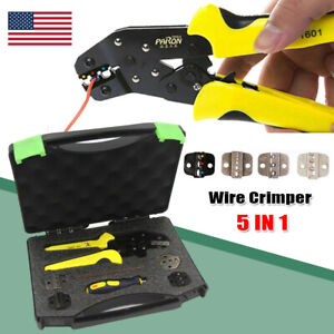 Cable Connectors Terminal Ratchet Crimping Tool Wire Crimper Pliers With Case