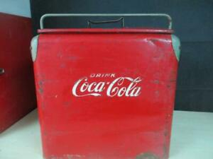 VINTAGE 1940'S COCA COLA COOLER BY ST. THOMAS METAL SIGNS W/TRAY