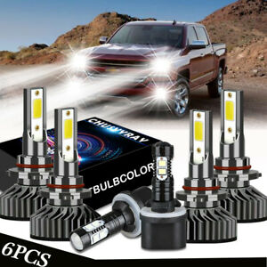 For Chevy Silverado 1500 2500 Hd 1999 2002 6x Led Headlights Fog Light Bulbs