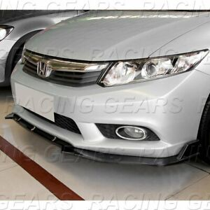 Fit 2012 Honda Civic Sedan Carbon Style Jdm Cs style Front Bumper Lip Kit 3pcs