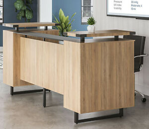 Mordern Receptionist Station With Glass Top Counter Metal reception Room Desk