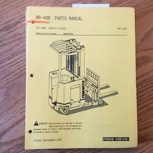 Prime Mover Rr 40b Parts Manual Book List Catalog Electric Reach Fork Lift Truck