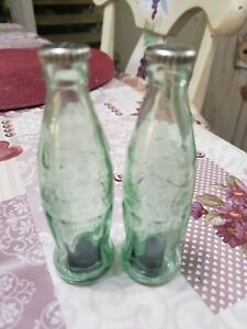 Vintage Coca Cola Salt and Pepper Shakers Vintage Green Glass  Taiwan