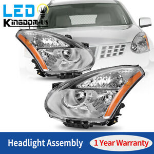 For 2008 2013 Nissan Rogue 2014 2015 Select Clear Chrome Headlights Lamps Pair