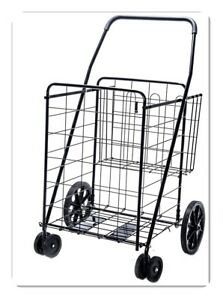 Jumbo Deluxe Folding Shopping Cart With Dual Swivel Wheels And Double Basket New