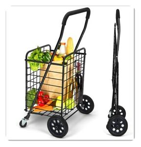 Shopping Cart With Dual Swivel Wheels For Groceries Compact Portable Folding