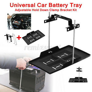 Universal Car Storage Battery Holder Stabilizer Tray Hold Down Clamp Bracket Kit