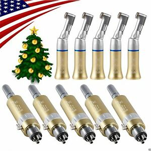 5 Set Nsk Dental Contra Angle Handpiece Air Motor 4 Hole Slow Low Speed Ukon