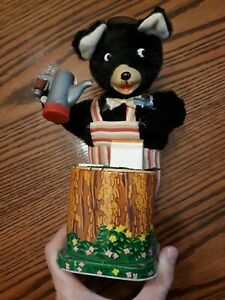1950s Maxwell Coffee Loving Bear Battery Operated Tin Toy Made in Japan
