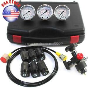 Hydraulic Nitrogen Accumulator Charging Pressure Test Kit W 3 Gauges 7 Adapters
