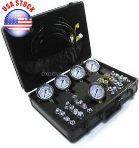 5 Gauge 24 Adapter Hydraulic Pressure Test Kit Quick Connector For Cat Komatsu