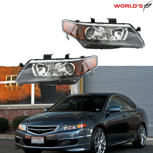 Black Projector Headlights Headlamps Assembly Left right For 2004 2008 Acura Tsx