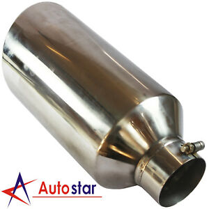 Polished Stainless Steel Diesel Exhaust Tip 4 Inlet 8 Outlet 18 Long