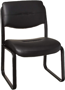 Boss Office Products Leather Sled Base Side Chair In Black