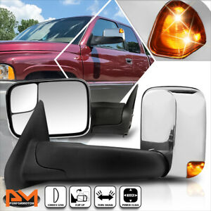 For 94 97 Dodge Ram 1500 3500 Power Chrome Side Towing Mirror W led Signal Lamp