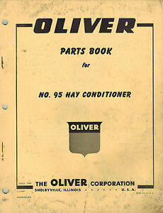 Oliver Vintage 95 Hay Conditioner Parts Manual 1960