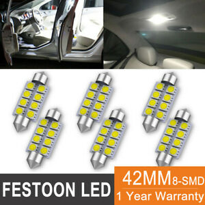 6pcs White Led Interior Map Dome Trunk Light 42mm 578 211 2 212 2 Festoon Bulbs