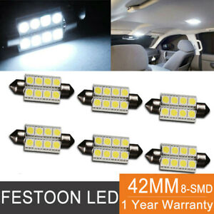 6x White 8smd 5050 Led Interior Map Dome Light Bulbs 42mm Festoon 212 2 578 569
