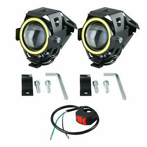 Motorcycle Headlight Led Fog Lights Spot Light With Angel Eyes Ring And Switch
