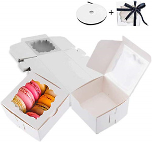 Thalia 60 Pack White Bakery Boxes With Window Pastry Box Donut Boxes For Small